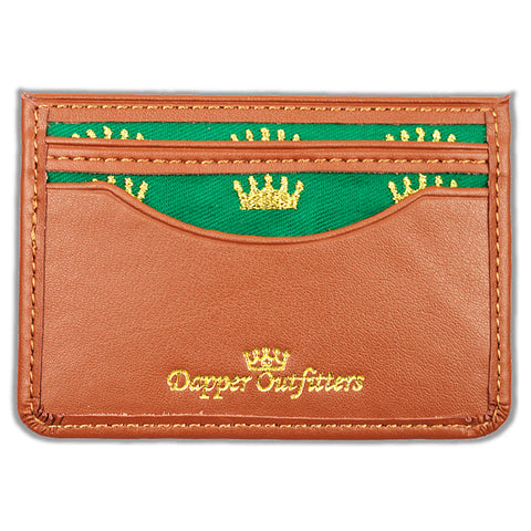 Leather Card Holder With Crown Embroidery