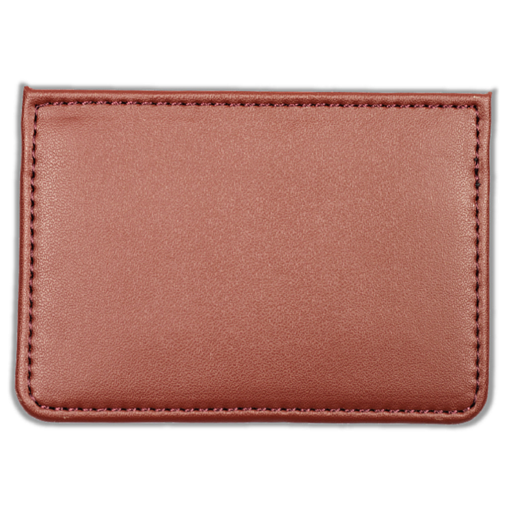 Leather Card Holder With Skull & Crossbones Embroidery