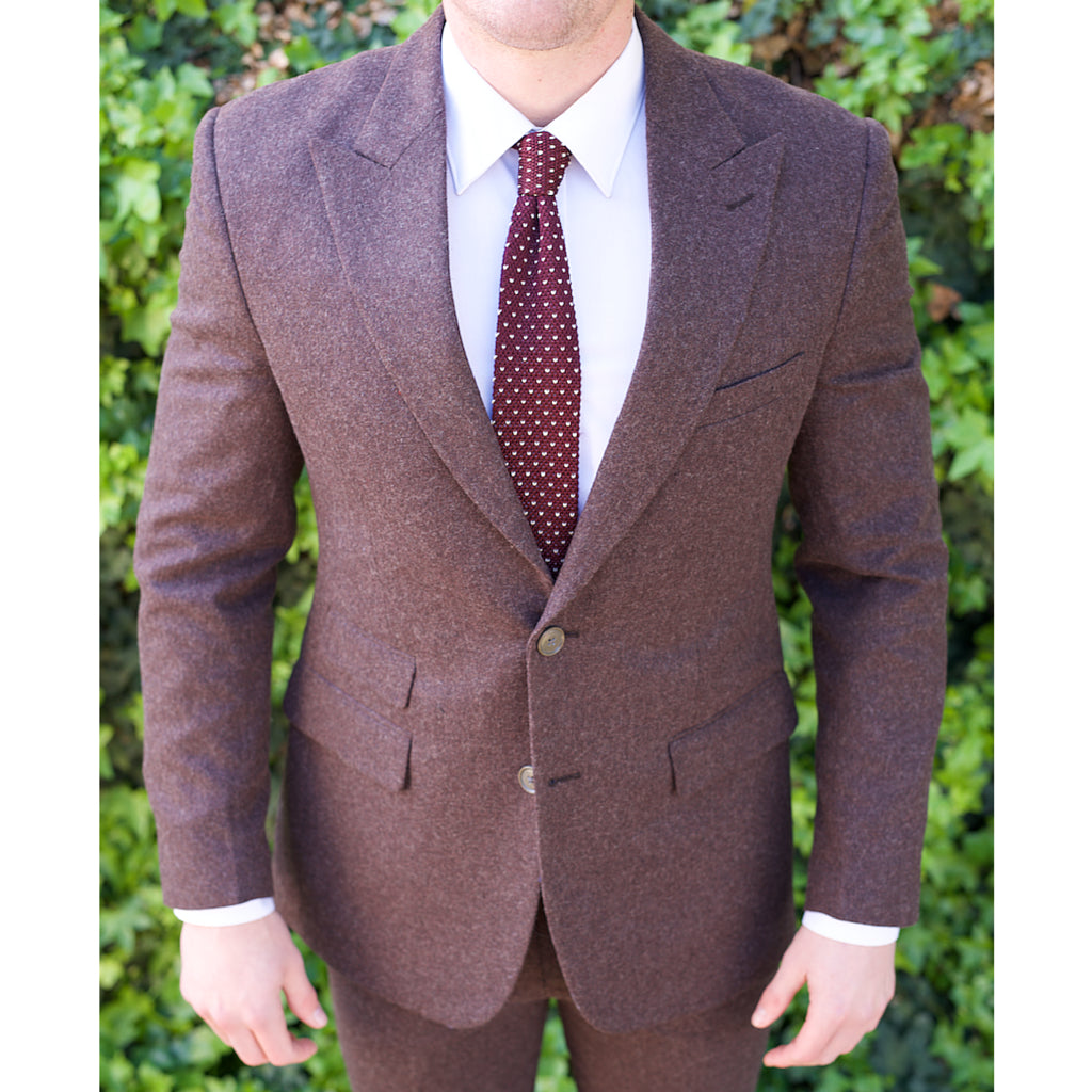 Maroon Italian Tweed Custom Bespoke Suit