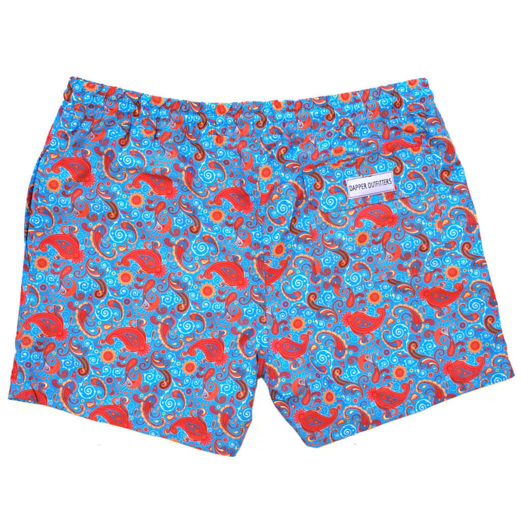 blue paisley swim trunks