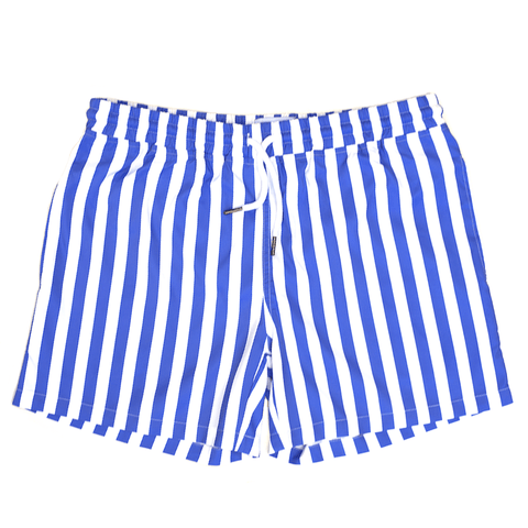 blue striped swim shorts