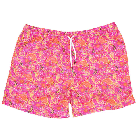 pink paisley swim shorts