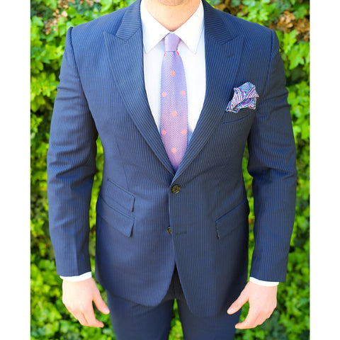 Navy Blue Pinstriped Custom Bespoke Suit