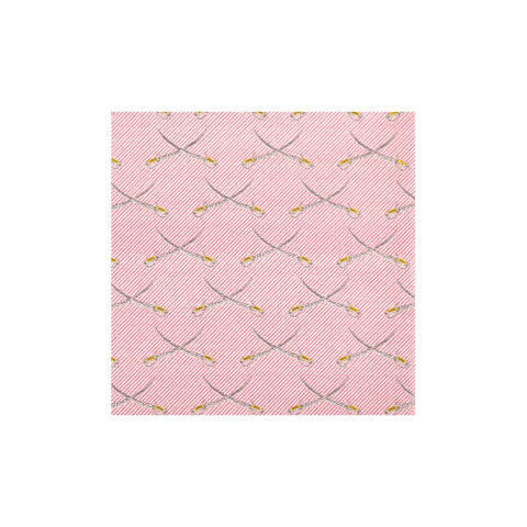 Pink Cross-Swords Silk Pocket Square