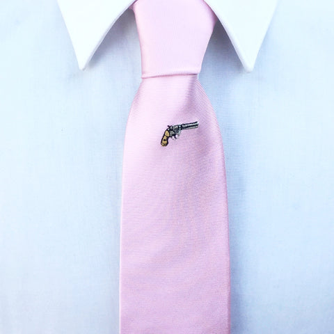 Pink Gun Embroidered Silk Tie
