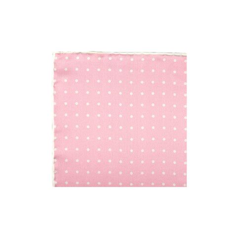Pink Polka Dot Silk Pocket Square