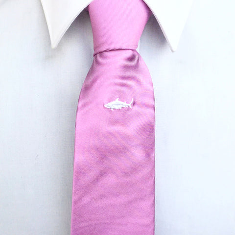 Purple White Shark Silk Tie
