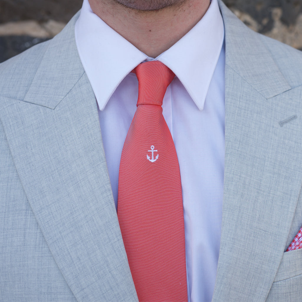 Red Anchor Embroidered Silk Tie