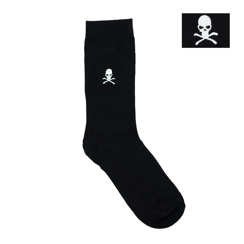 Socks - Black Skull & Crossbones Embroidered Dress Socks