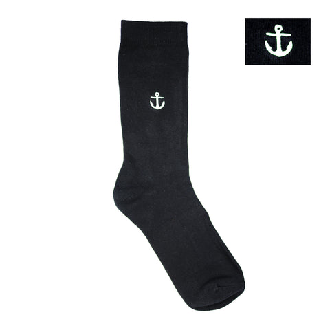 Socks - Black White Anchor Embroidered Dress Socks