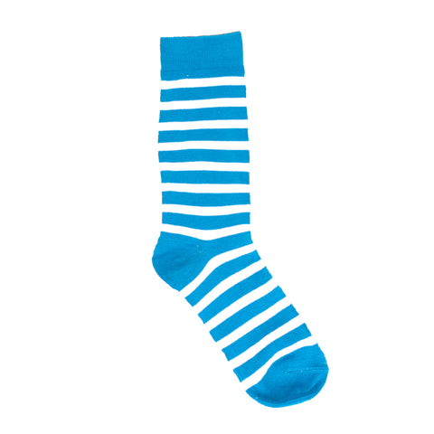 Socks - Blue And White Striped Dress Socks