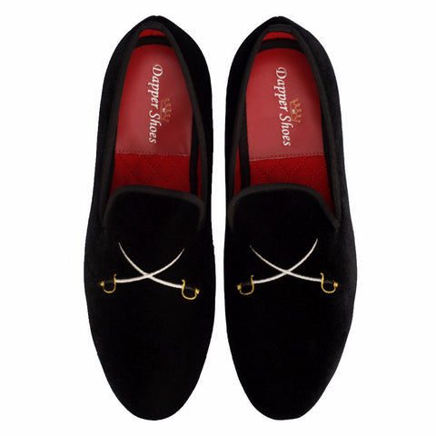 Velvet Slippers - Men's Black Velvet Slippers Cross Swords Embroidery