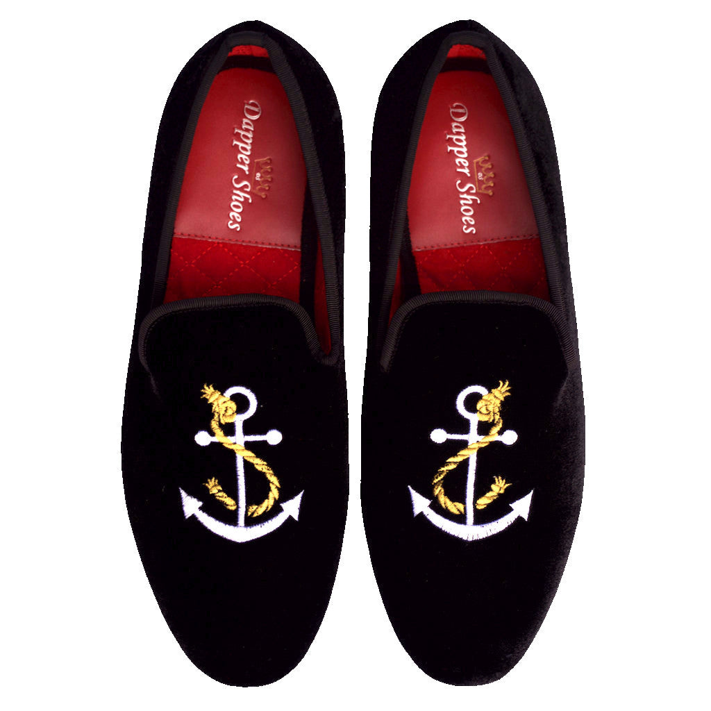 Velvet Slippers - Men's Black Velvet Slippers With Anchor & Rope Embroidery