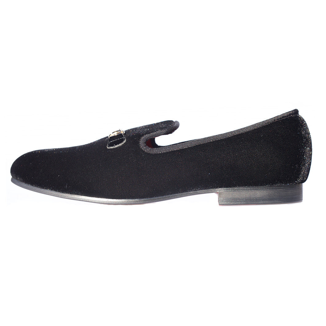 Velvet Slippers - Men's Black Velvet Slippers With Golden Buckle