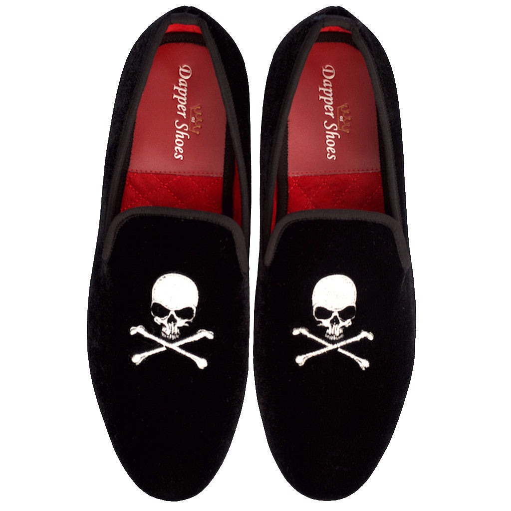 Velvet Slippers - Men's Black Velvet Slippers With Skull & Crossbones Embroidery