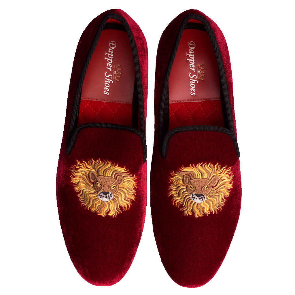 Velvet Slippers - Men's Burgundy Velvet Slippers Lion Embroidery