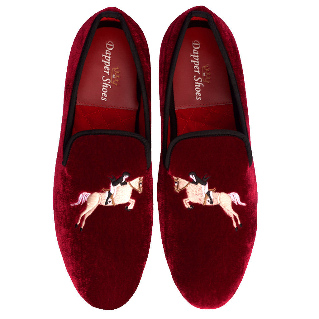 Velvet Slippers - Men's Burgundy Velvet Slippers With Equestrian Embroidery