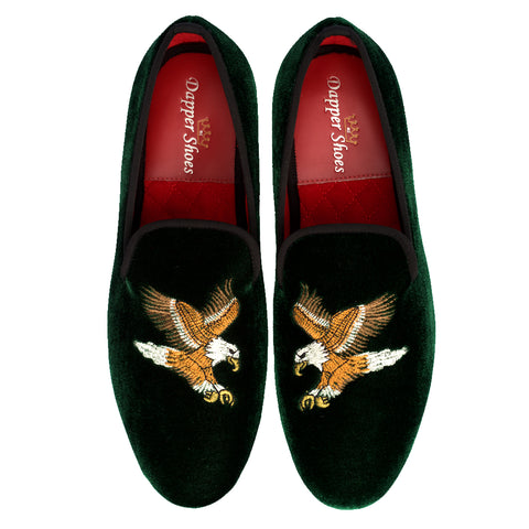 Velvet Slippers - Men's Green Velvet Slippers With Eagle Embroidery