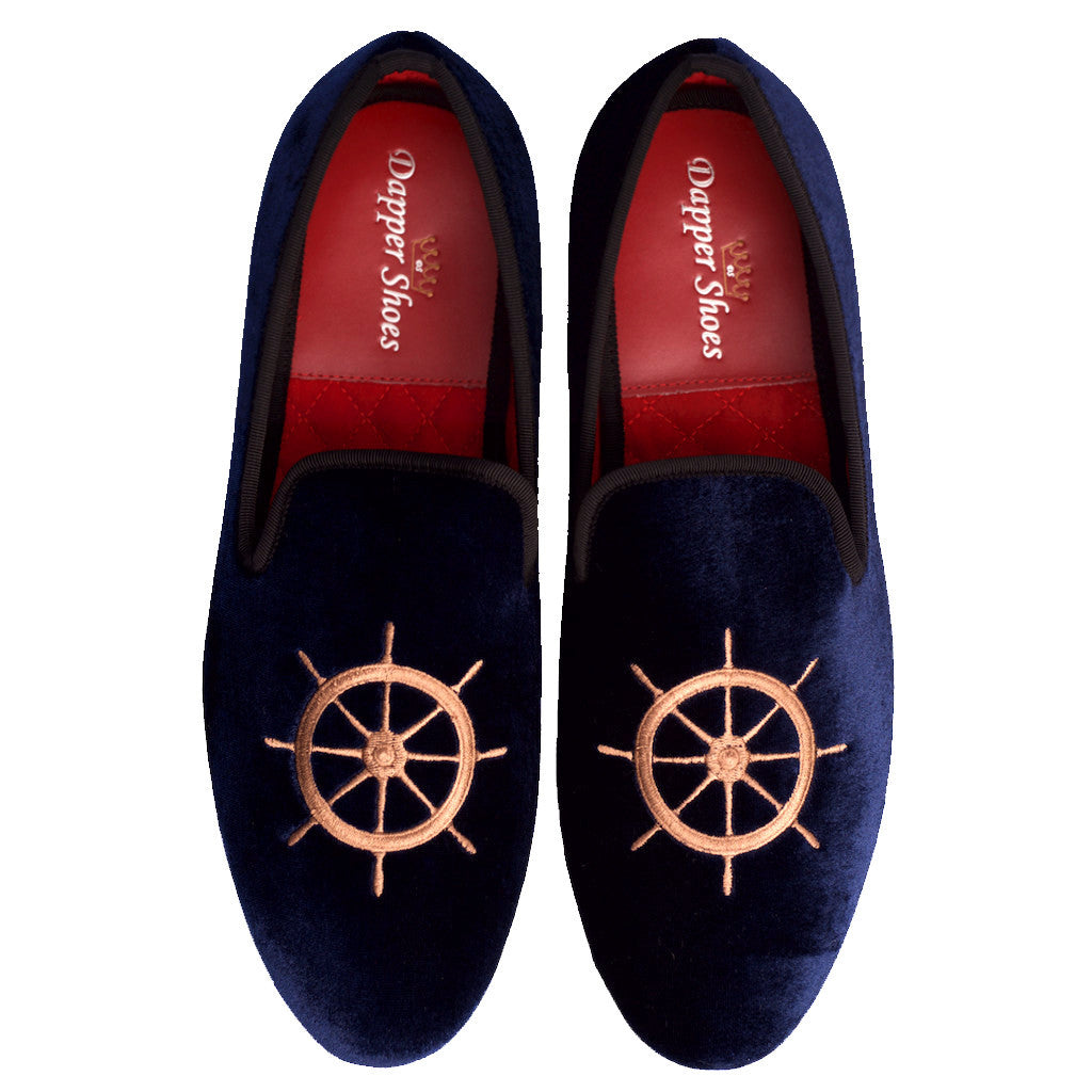 Velvet Slippers - Men's Navy Blue Velvet Slippers With Nautical Embroidery