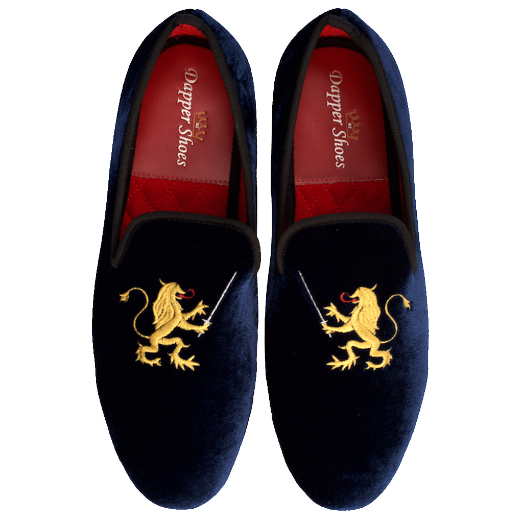 Velvet Slippers - Men's Navy Blue Velvet Slippers With Rampant Lion Embroidery