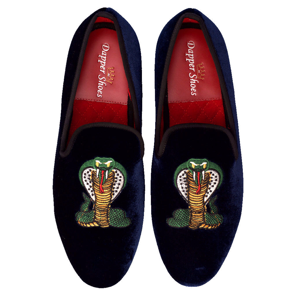 Velvet Slippers - Men's Navy Blue Velvet Slippers With Serpent Embroidery