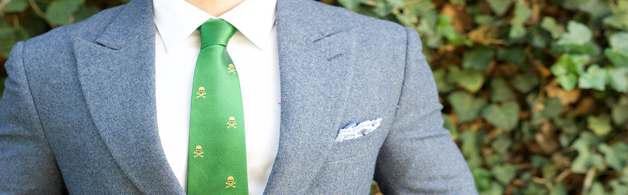 Green skull and crossbones tie by dapper outfitters