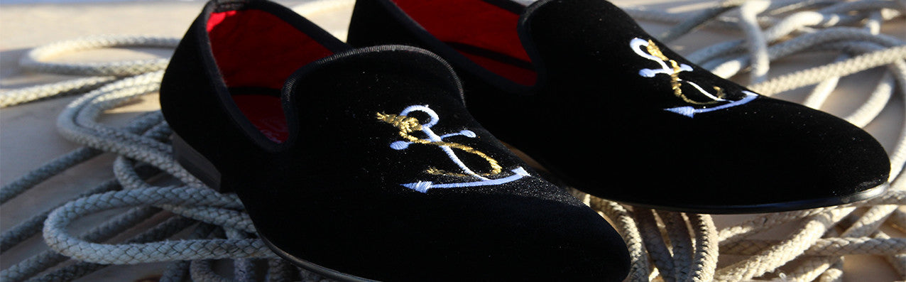 Mens black velvet slippers