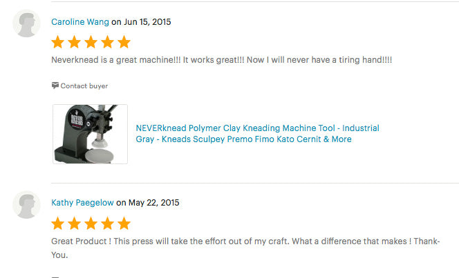 More Etsy reviews of The NEVERknead Polymer Clay Kneading Machine Tool
