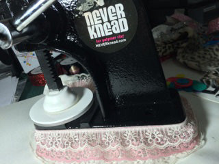 Put a pretty lace skirt on your NEVERknead Polymer Clay Kneading Machine Tool