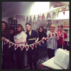 The Bride and hens with their finished bunting...