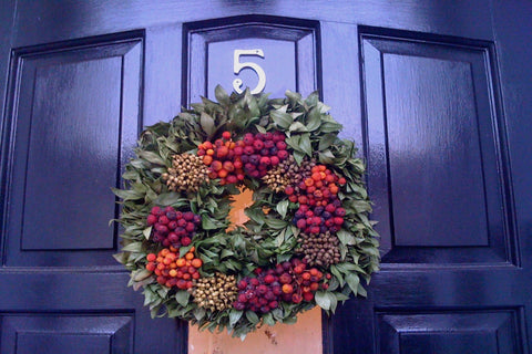 Christmas Wreath on a lovely door - www.lovinglymadeltd.co.uk