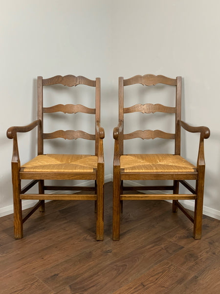 Vintage French Oak Slatback Chairs, Pair - LOVINGLY MADE FURNITURE, SUSSEX - Antique & Vintage Furniture