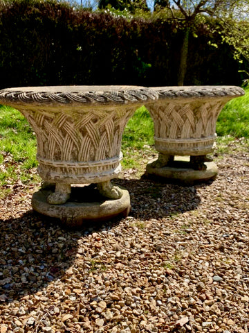 Vintage Woven Lattice Garden Planters, Pair - Large - LOVINGLY MADE FURNITURE, SUSSEX - Antique & Vintage Furniture - Antique & Vintage Furniture for your home & garden