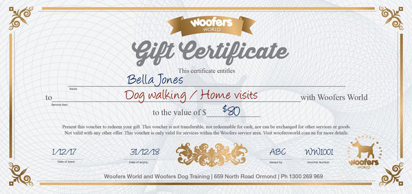 Woofers Gift Certificate - Dog Walking/Home Visits