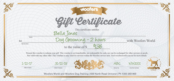 Woofers Gift Certificate - Grooming