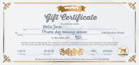 Woofers Gift Certificate - Dog Training