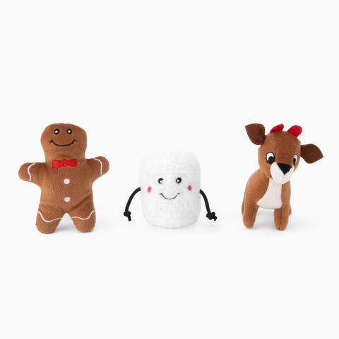 Zippy Paws Miniz 3-Pack (Gingerbread, Marshmellow & Reindeer)