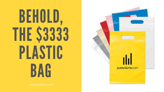 Behold, the $3333 Single Use Plastic Promo Swag Bag