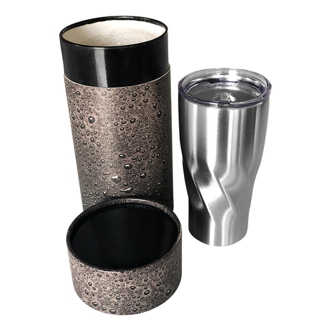 reusable water bottle in a cylindrical box
