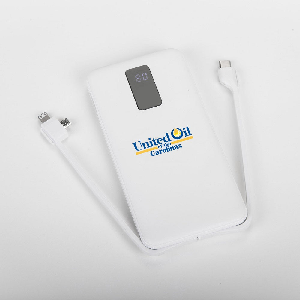 10,000 mAh Power Bank Integrated Cables