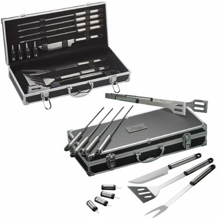 custom bbq grill set in case open and closed
