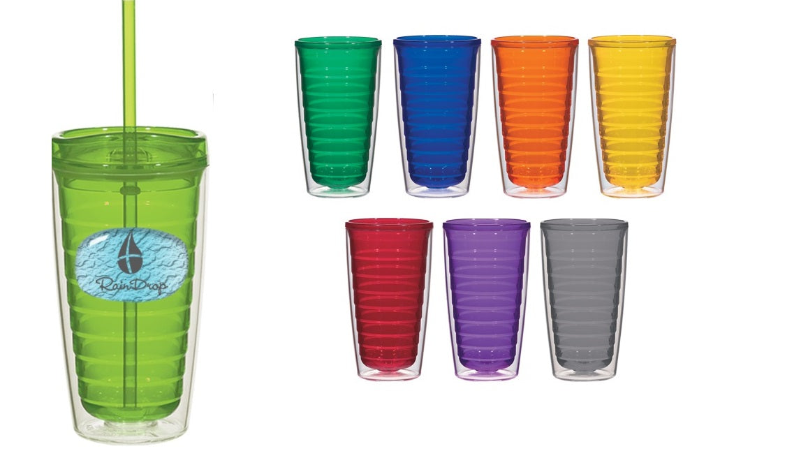 Double Wall Insulated Tumblers with Lid and Straw