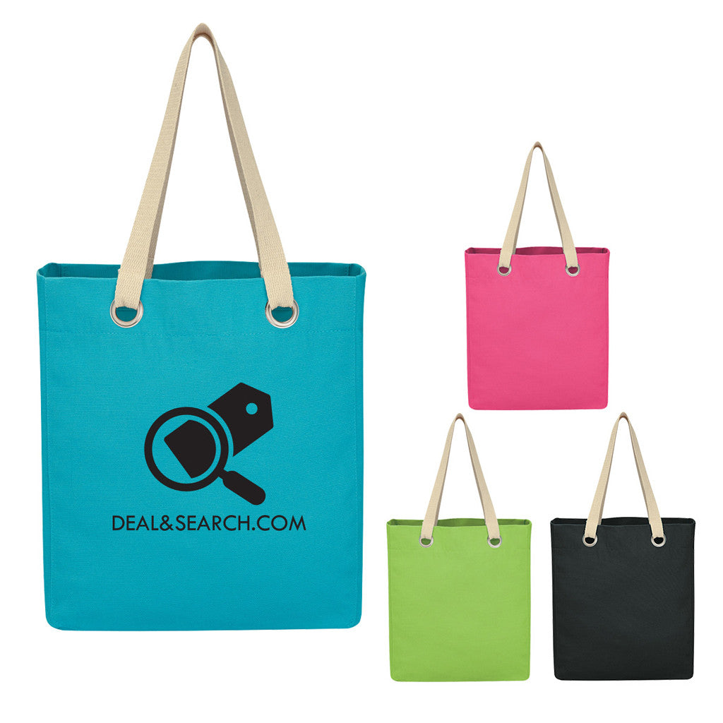Canvas Tote Bag with Grommet Trim
