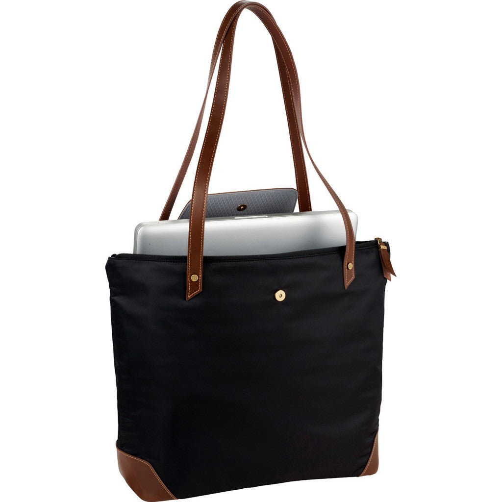 Classic Styled Nylon and Leather Tote Bag