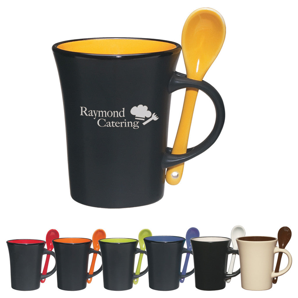 Coffee Mug with Spoon - 8 oz.