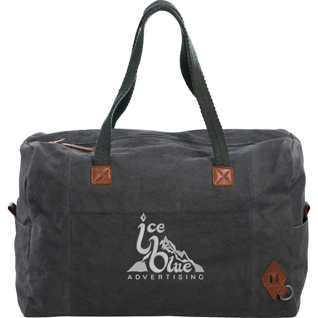 Canvas Weekender Bag with Leather Trim