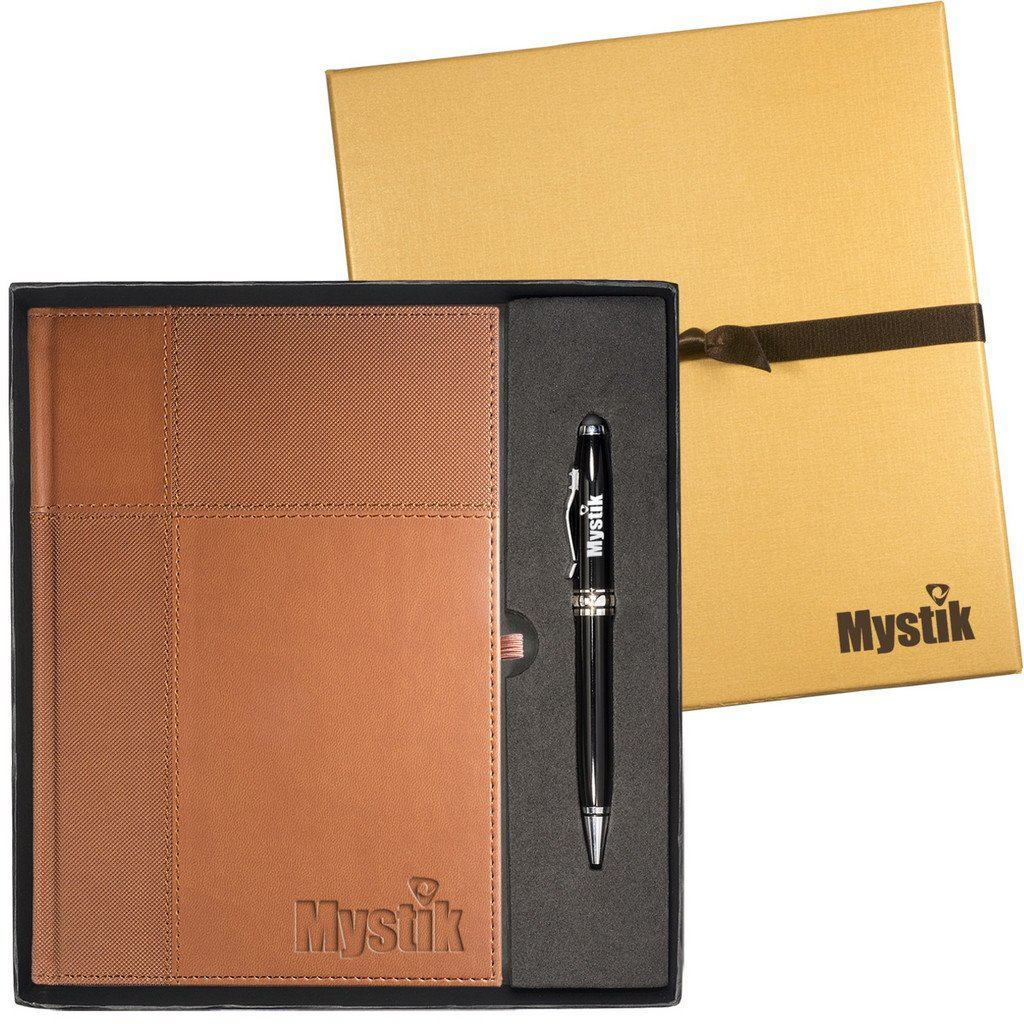 Custom Journal and Stylus Pen Gift Set - tan