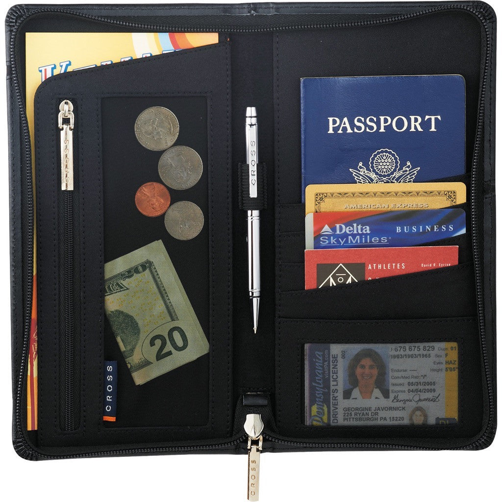 Cross Bonded Leather Travel Wallet With Pen