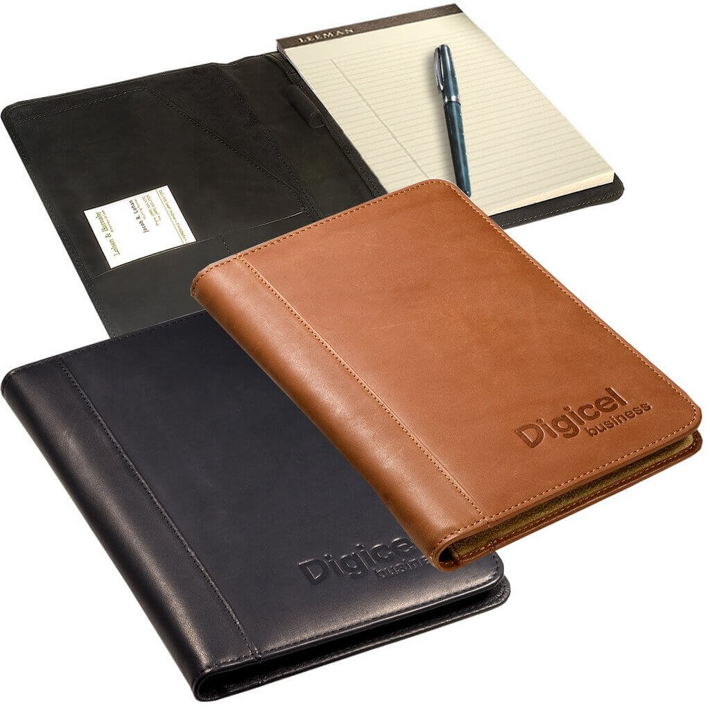 Full Grain Leather Junior Portfolio Debossed Open