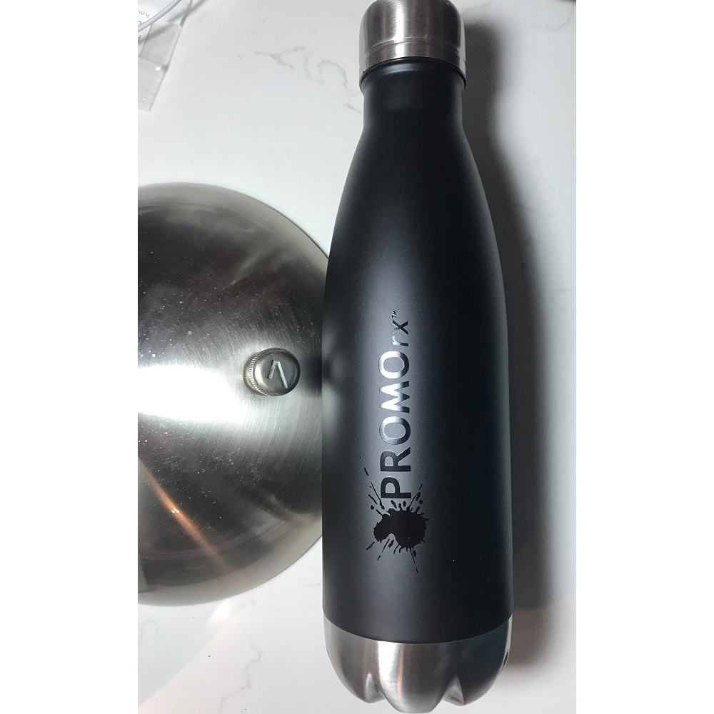 Tone on Tone Print on Black Matte Stainless Bottle